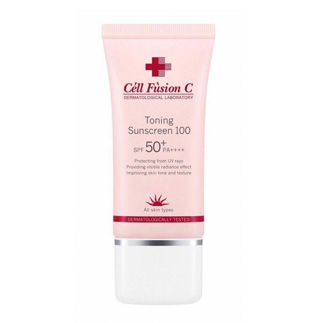 review chong nang Cell Fusion C Toning Sunscreen 100 Spf50+/Pa+++